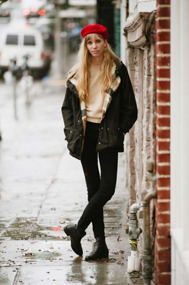 Lauren Conklin wore a vintage Levi's jacket, boots from Asos and a vintage beret. Photo: William C Rittenhouse
