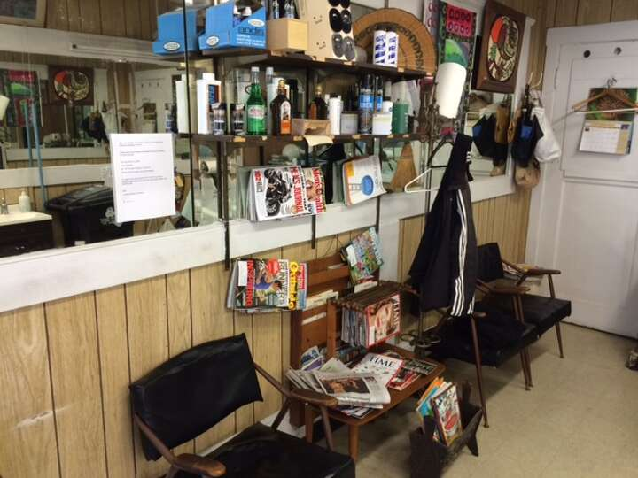 Barber Shop In The Area : Waiting area at Asanos Barber Shop. Chronicle/Sam Whiting Photo ...