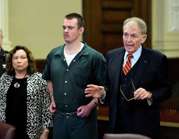 Attorney Terry Kindlon, right gives a statement before defendant Anthony Repp pleaded guilty for the murder of his step father and mother. Friday morning, Dec. 12, 2014, Rensselaer County Court in Troy, N.Y. With Repp is attorney Laurie Shanks, Kindlon's partner. (Skip Dickstein/Times Union) Photo: SKIP DICKSTEIN / 00029809A