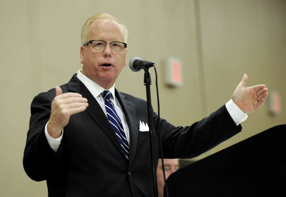 Mayor Mark Boughton delivers the State of the City address at a Greater Danbury Chamber of Commerce luncheon held at the Crowne Plaza Hotel in Danbury, Conn. Friday, Dec. 12, 2014. Photo: Carol Kaliff / The News-Times