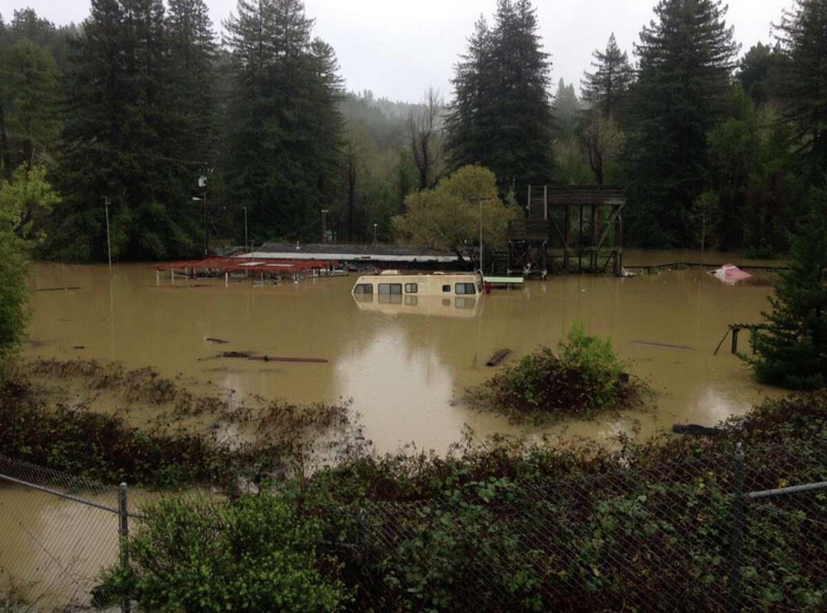 A waterlogged RV near the Russian River outside Guerneville on Friday, Dec. 12, 2014.