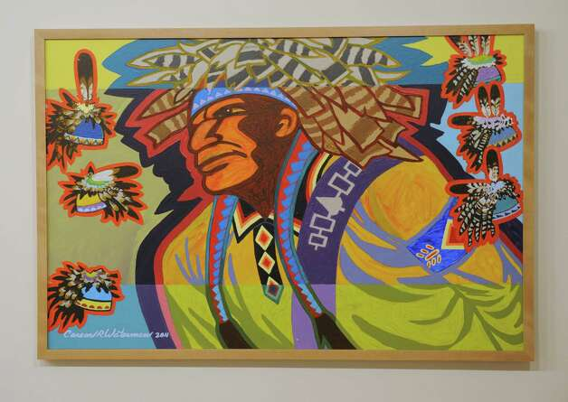 "Painting by Carson Waterman titled ""Man with Gustowets,"" 2011, in a new exhibition at the State Museum called Represent: Contemporary Native American Art on Friday, Dec. 12, 2014, in Albany, N.Y. (Lori Van Buren / Times Union) Photo: Lori Van Buren / 00029842A"