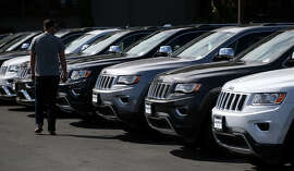 There is more demand nationwide for SUVs like these Jeeps in Corte Madera, but that's less true in the Bay Area, which boasts the biggest percentage of hybrid and electric models on the road in the nation.