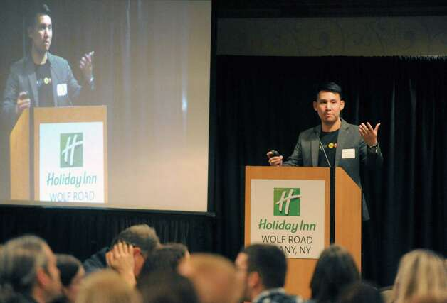Stephen Fang, a regional manager for Google for Education, speaks during the 26th Annual Regional Technology Awareness Day at the Wolf Road Holiday Inn on Friday Dec. 12, 2014 in Colonie, N.Y.  (Michael P. Farrell/Times Union) Photo: Michael P. Farrell / 00029708A
