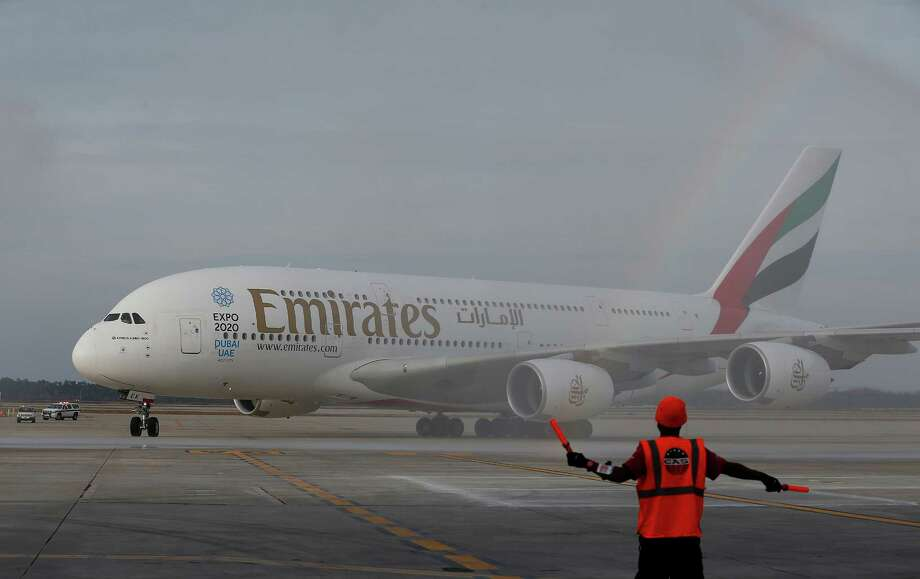 Emirates' inaugural A380 flight to  Bush Intercontinental Airport touches down in Houston. Photo: Aaron M. Sprecher, FRE / AP Images