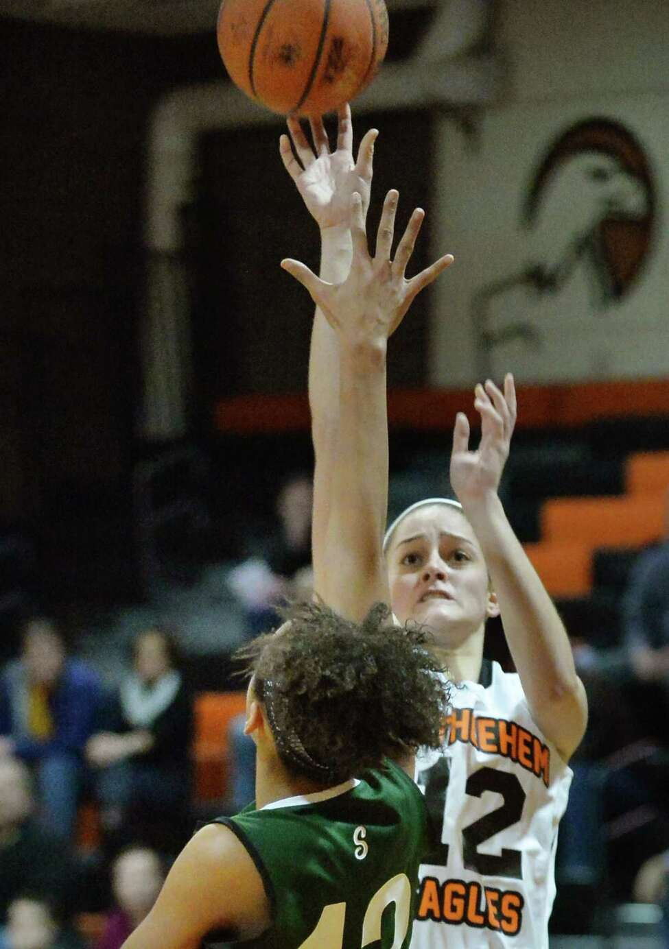 Bethlehem junior point guard Jenna Giacone takes a shot during Friday's game against Shenendehowa High Dec. 12, 2014, in Delmar, NY. (John Carl D'Annibale / Times Union)