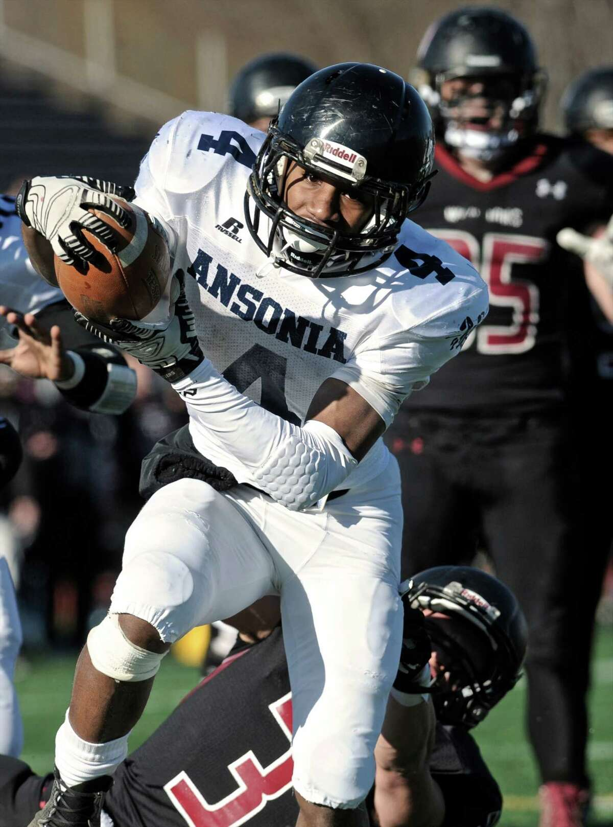 Following Arkeel Newsome's footsteps was no small task, but Bagley thrived in an expanded role as a junior. Hobbled early by an ankle injury, he still managed to run for 1,259 yards and 22 scores. The Chargers did fall a step short of a four-peat, losing 21-20 to Valley Regional/Old Lyme in the Class S-Large final. Coach's take: