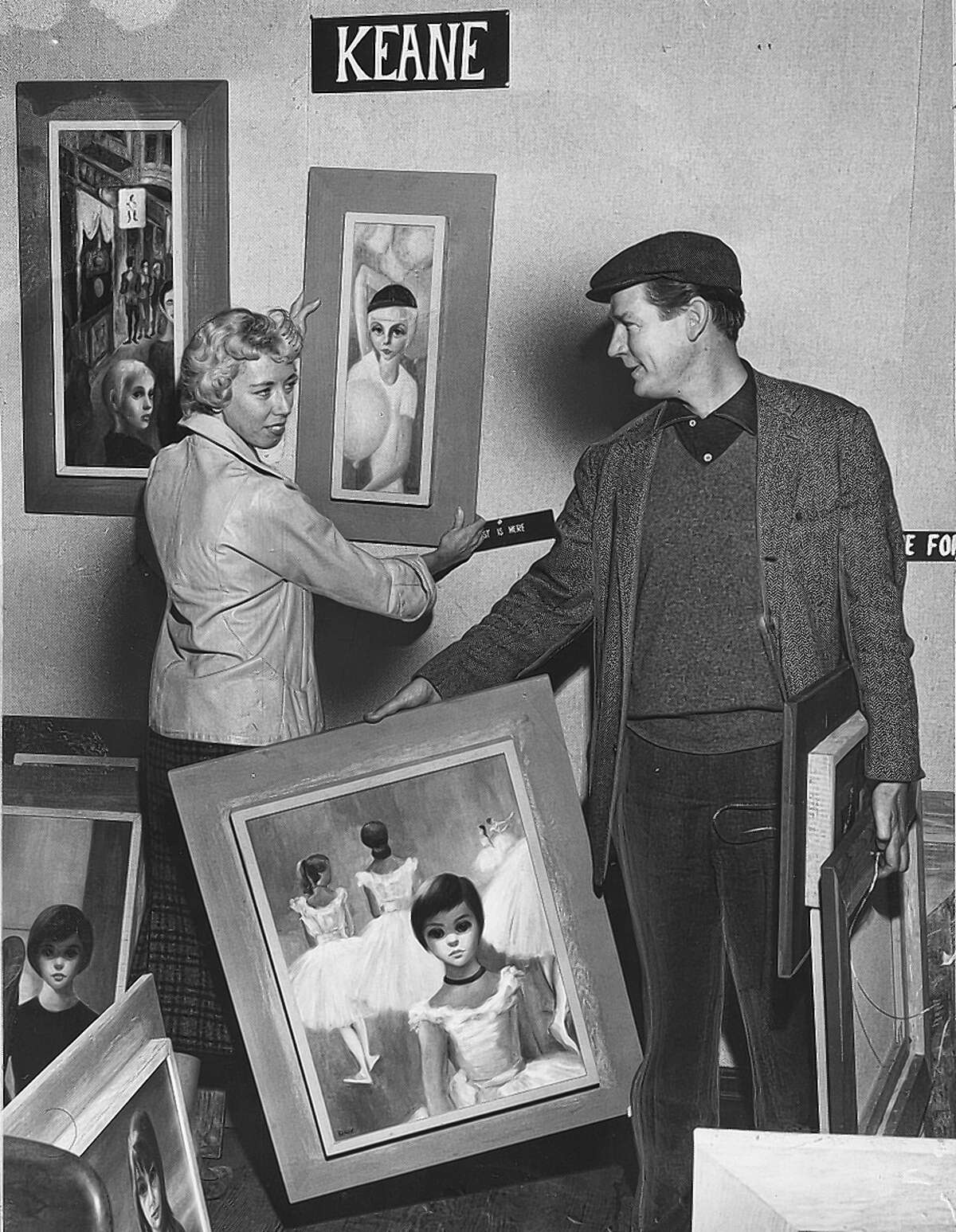 """Keane's then-husband, Walter Keane, shot to stardom by taking credit for her work. """"He could charm anybody,"""" she says."""