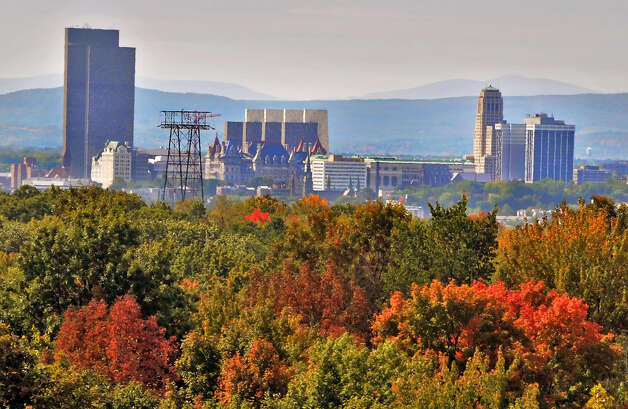 Albany city skyline with fall foliage as visible from the top of the new parking garage at Hudson Valley Community College. (John Carl D'Annibale / Times Union) Photo: John Carl D'Annibale