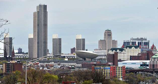 The Albany skyline from the other side of the river. (John Carl D'Annibale / Times Union) Photo: John Carl D'Annibale