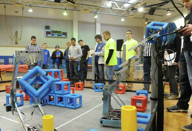 Local High School students compete in the Skyrise VEX Robotics Competition at Maple Avenue Middle School on Saturday Dec. 13, 2014 in Saratoga Springs , N.Y.  (Michael P. Farrell/Times Union) Photo: Michael P. Farrell / 00029837A