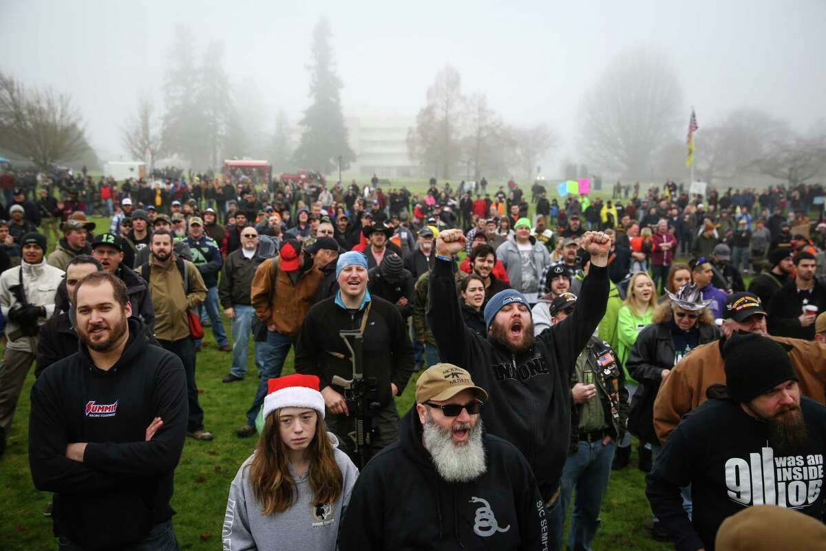 Hundreds of opponents of a Washington State law requiring mandatory background checks on all guns sales gather on the grounds of the State Capitol in Olympia. The law, known as Initiative 594, was passed by voters in November. Photographed on Saturday, December 13, 2014.