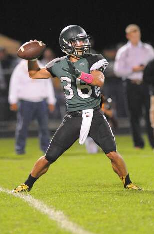 Schalmont quarterback Nick Gallo throws a pass against Burnt Hills-Ballston Lake during the first half of their Section II game on Friday, Sept. 26, 2014, in Rotterdam, N.Y., (Hans Pennink / Special to the Times Union) ORG XMIT: HP112 Photo: Hans Pennink / Hans Pennink