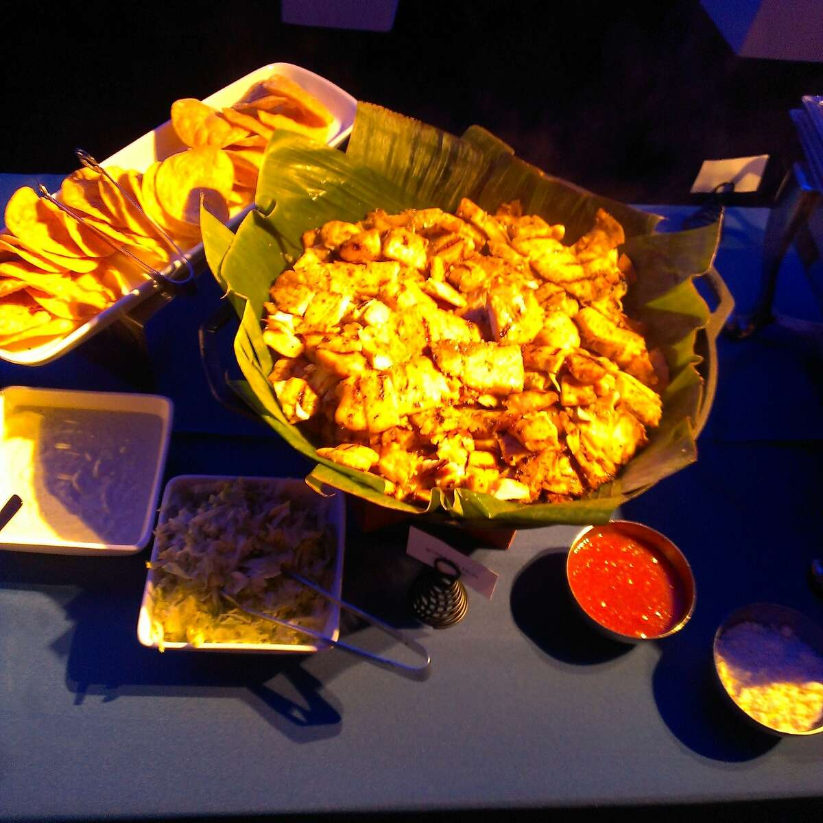 The snack table during a baseball-themed holiday party held by Facebook at AT&T Park in San Francisco, California.