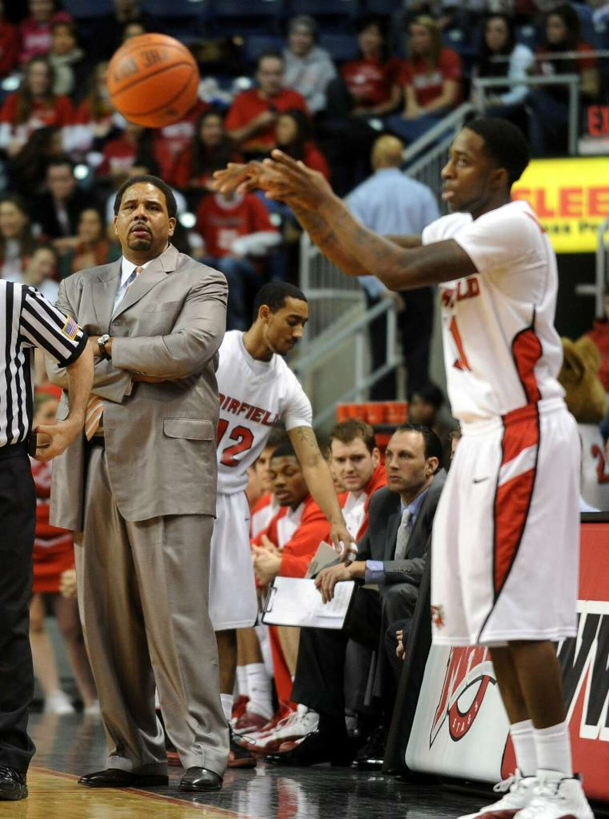 Fairfield University Head Coach Ed Cooley, during basketball action against Iona at the Arena at Harbor Yard in Bridgeport, Conn. on Friday Feb. 26, 2010.
