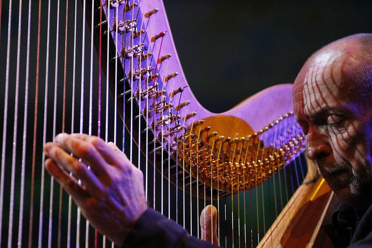 Harpist Douglas Rioth performs during San Francisco Symphony's new performance series called Soundbox Dec. 13, 2014 in San Francisco, Calif.