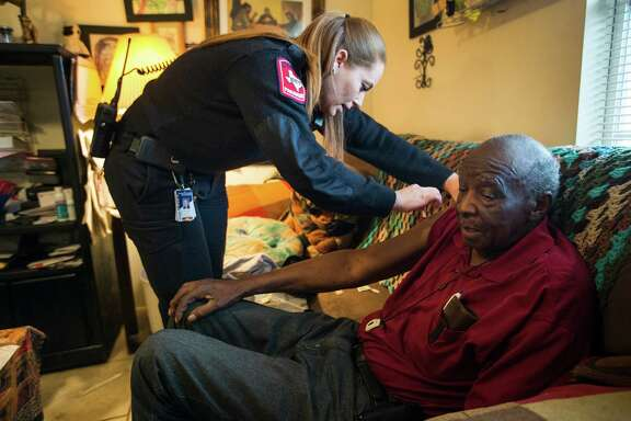 "Paramedic Nivea Wheat regularly visits William Jones as a part of  a Montgomery County Hospital District program called ""Community Paramedicine."""