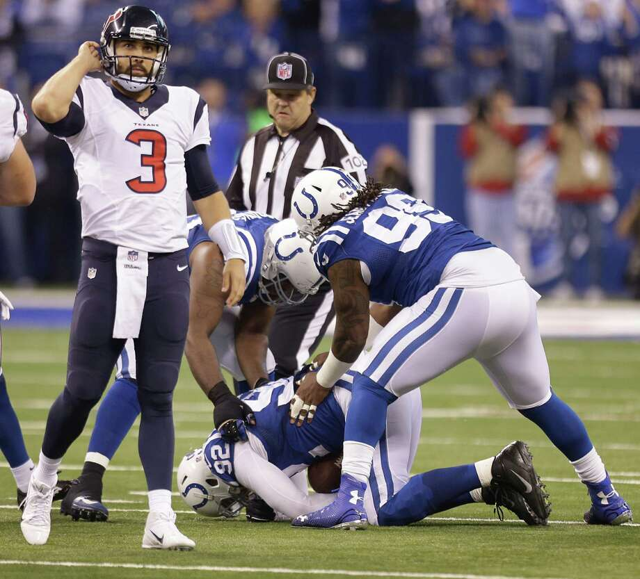 Texans rookie quarterback Tom Savage (3) was given a trial by fire after he relieved an injured Ryan Fitzpatrick. Savage was 10-of-19 passing for 127 yards. Photo: Brett Coomer, Staff / © 2014  Houston Chronicle