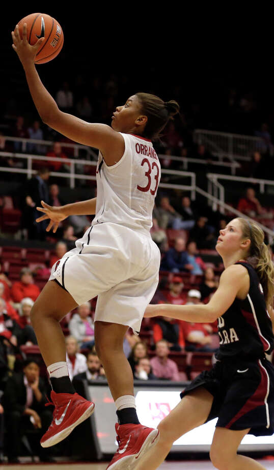 Stanford's Amber Orrange shoots a layup as she hustles pas Santa Clara's Sidney Rielly in the second half. Photo: Ben Margot / Associated Press / AP