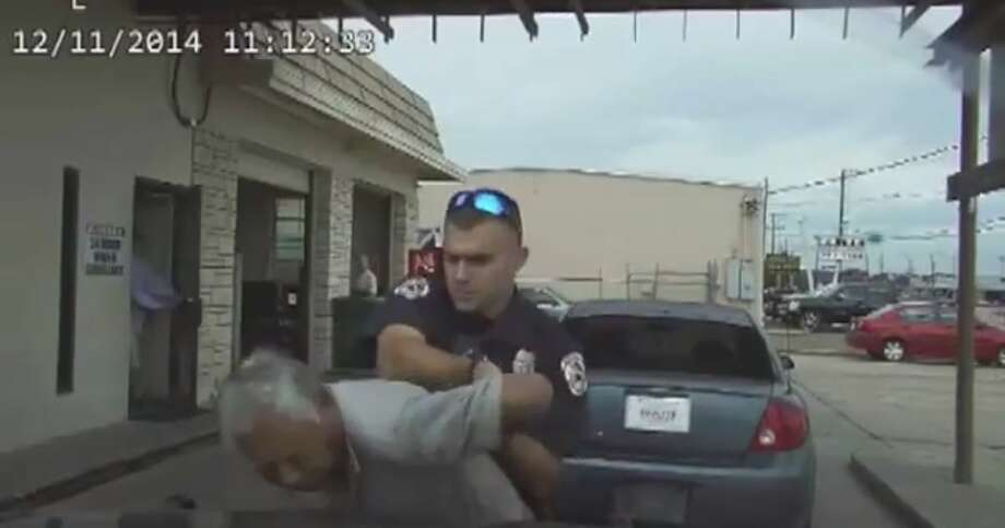 A Victoria police officer is under investigation after using a stun gun on a 76-year-old man after pulling him over Thursday for an expired inspection sticker.  Nathanial Robinson, a 23-year-old hired in 2012 after graduating from the police academy, was placed on administrative duty Friday while the Victoria Police Department determines whether Robinson violated the department's use of force policy, Victoria Police Chief J.J. Craig told the Victoria Advocate. Photo: Raw Story/YouTube