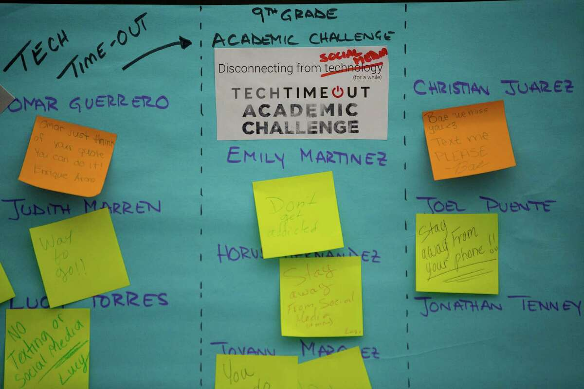 Eastwood Academy High School resort to leaving each other old-school post-it notes during last week's Tech Timeout challenge.