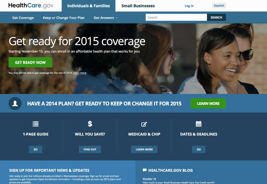 FILE - This Oct. 15, 2014 file photo, a screen shot shows the home page of HealthCare,gov, a federal government website managed by the U.S. Centers for Medicare & Medicaid Service.(AP Photo, File) Photo: Uncredited, HOPD / U.S. Centers for Medicare & Medi