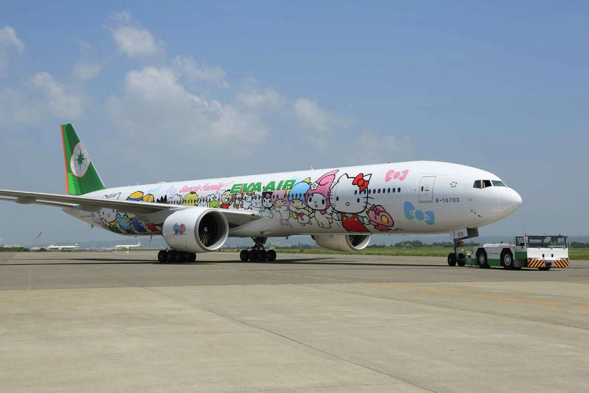 Taiwan-based EVA Air launched a Hello Kitty-themed aircraft for Los Angeles and Paris routes to Taiwan, and the planes will soon be making an appearance in Houston. See some of the other odd airline designs that show up on Houston runways.