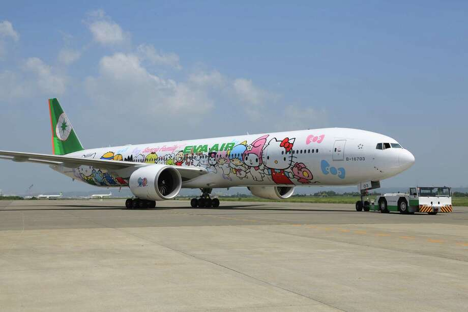 Taiwan-based EVA Air launched a Hello Kitty-themed aircraft for Los Angeles and Paris routes to Taiwan, and the planes will soon be making an appearance in Houston. See some of the other odd airline designs that show up on Houston runways. Photo: EVA Air / ONLINE_YES