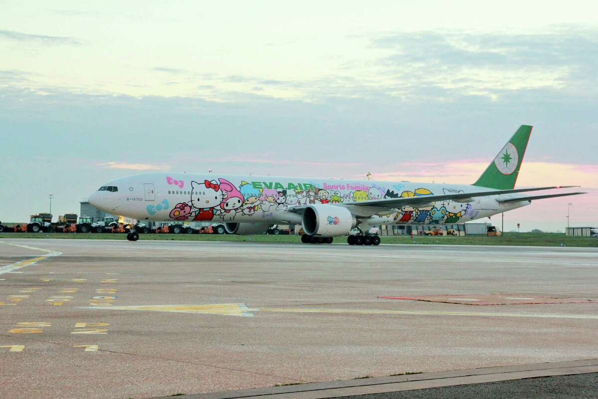 EVA Air and Hello Kitty Taiwan-based EVA Air launched a Hello Kitty-themed aircraft for Los Angeles and Paris routes to Taiwan. It launched on the Los Angeles route in September 2013 and was taken to Paris in October 2014 for the character'€™s 40th birthday.