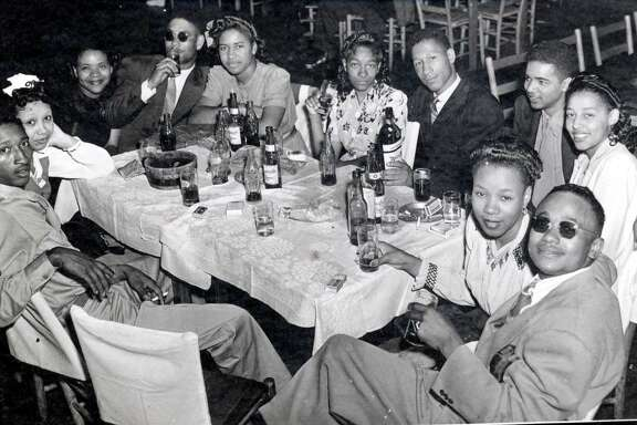 This is a photo taken at the Eldorado Ballroom in its heyday.  HOUCHRON CAPTION (05/21/2003):  The Eldorado Ballroom jumped big-time in the years after World War II, as shown in this 1947 photo, with top Houston bands and visiting stars, but by the 1960s its nights were numbered. Musical styles had changed - and so had the audiences.