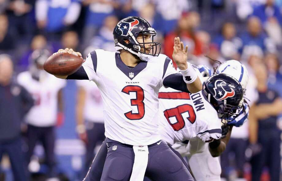 Tom Savage of the Houston Texans throws a pass during the game against the Colts at Lucas Oil Stadium on Dec. 14, 2014 in Indianapolis. Photo: Andy Lyons /Getty Images / 2014 Getty Images