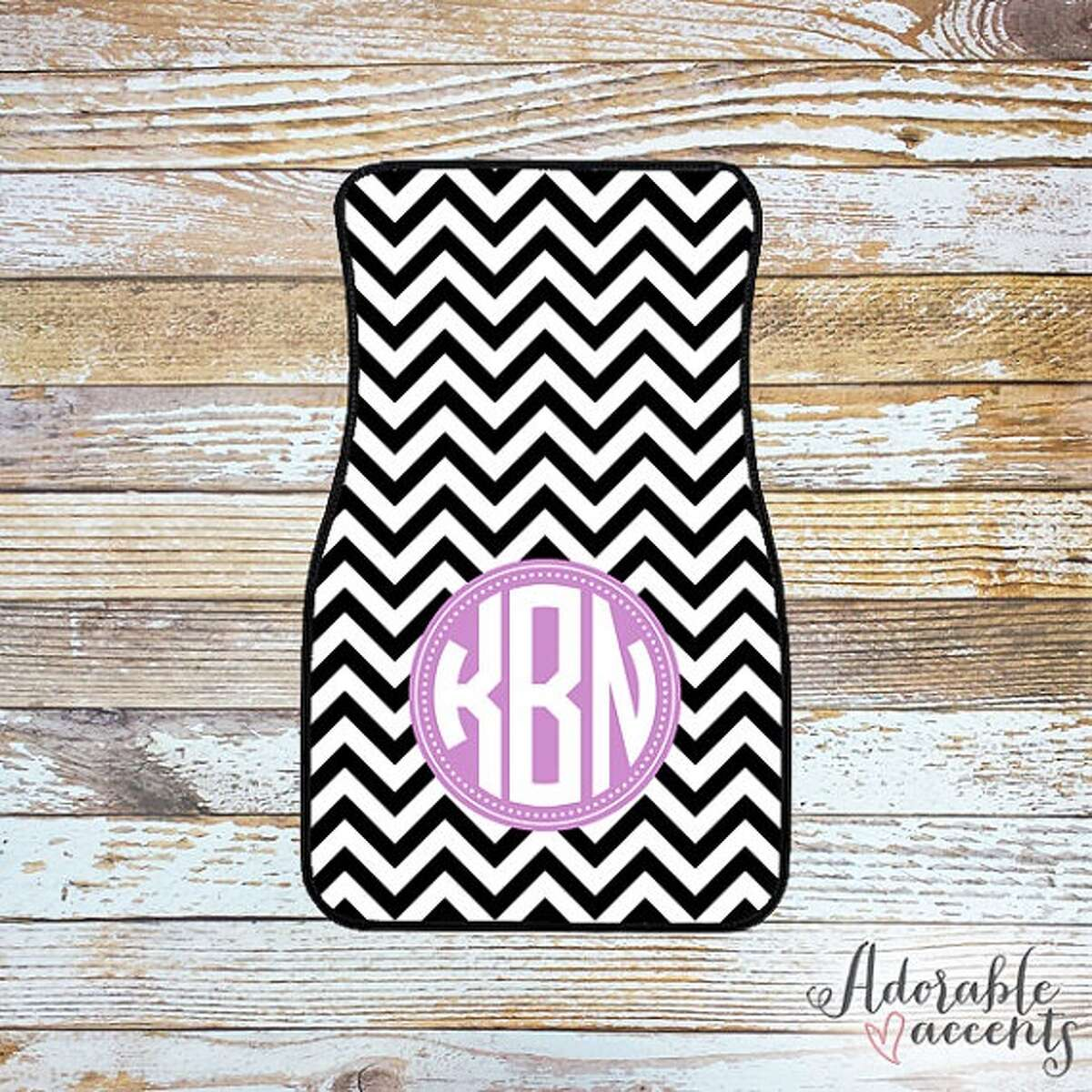 Monogrammed car mats : The commuter who likes to add personality to his or her car will love this Etsy account's custom car mats. Make them truly custom by having them monogrammed with the car owner's initials. Pictured here is Shop Adorable's mat. Price: Various based on initials/style; starts at $37.95