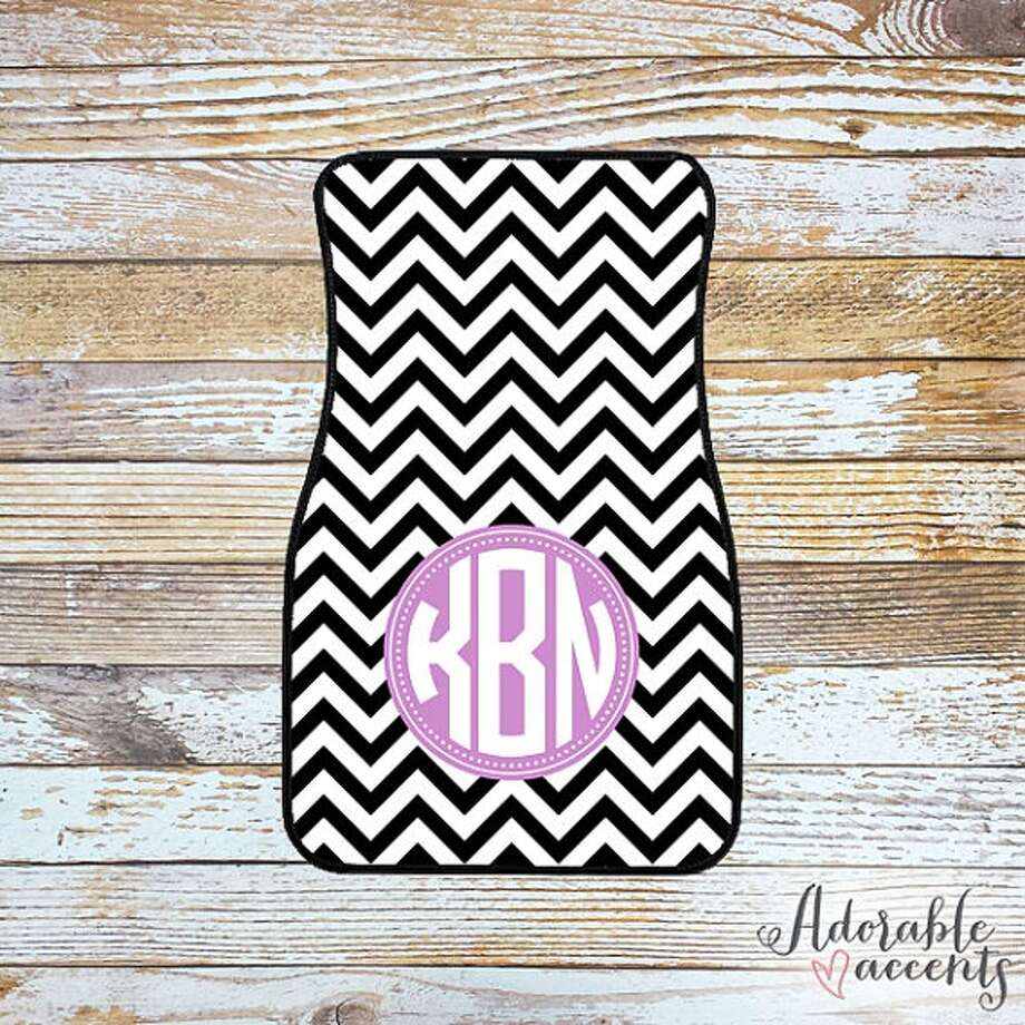 Monogrammed car mats: The commuter who likes to add personality to his or her car will love this Etsy account's custom car mats. Make them truly custom by having them monogrammed with the car owner's initials. Pictured here is Shop Adorable's mat. Price: Various based on initials/style; starts at $37.95 Photo: ShopAdorableAccents/Etsy