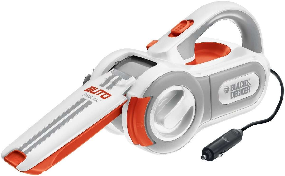 Portable vacuum cleaner : Drivers with long commutes to work often eat in the car and leave crumbs behind. This portable vacuum is designed to adjust to car interiors for easy cleaning. Pictured here is the Black & Decker PAV1200W 12-Volt Cyclonic-Action Pivoting-Nose Vacuum Cleaner. Price: $45.40