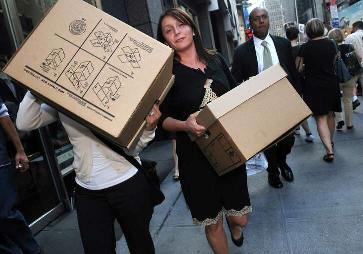 Boxes of belongings are removed from Lehman Brothers' headquarters in New York after its bankruptcy in September 2008.