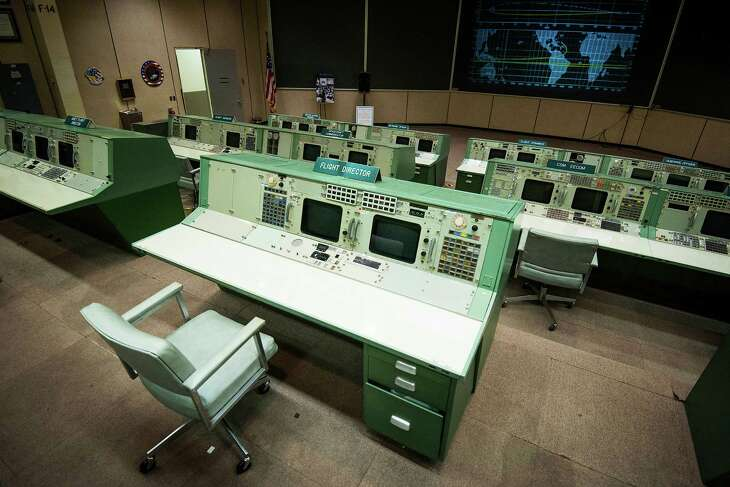 The flight director's console in the Mission Operation Control Room 2 (MOCR 2) in the Mission Control Center at NASA's Johnson Space Center Thursday, May 15, 2014, in Houston. The historic MOCR 2, also known as the Apollo Control Room,  was designated a National Historic Landmark in 1985.