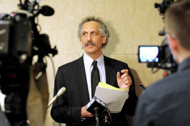 Russ Haven of NYPIRG releases a report that examines 59 local governments decisions to support hydraulic fracturing on Tuesday Dec. 16, 2014, at the Capitol in Albany, N.Y. (Cindy Schultz / Times Union) Photo: Cindy Schultz, Albany Times Union / 00029874A