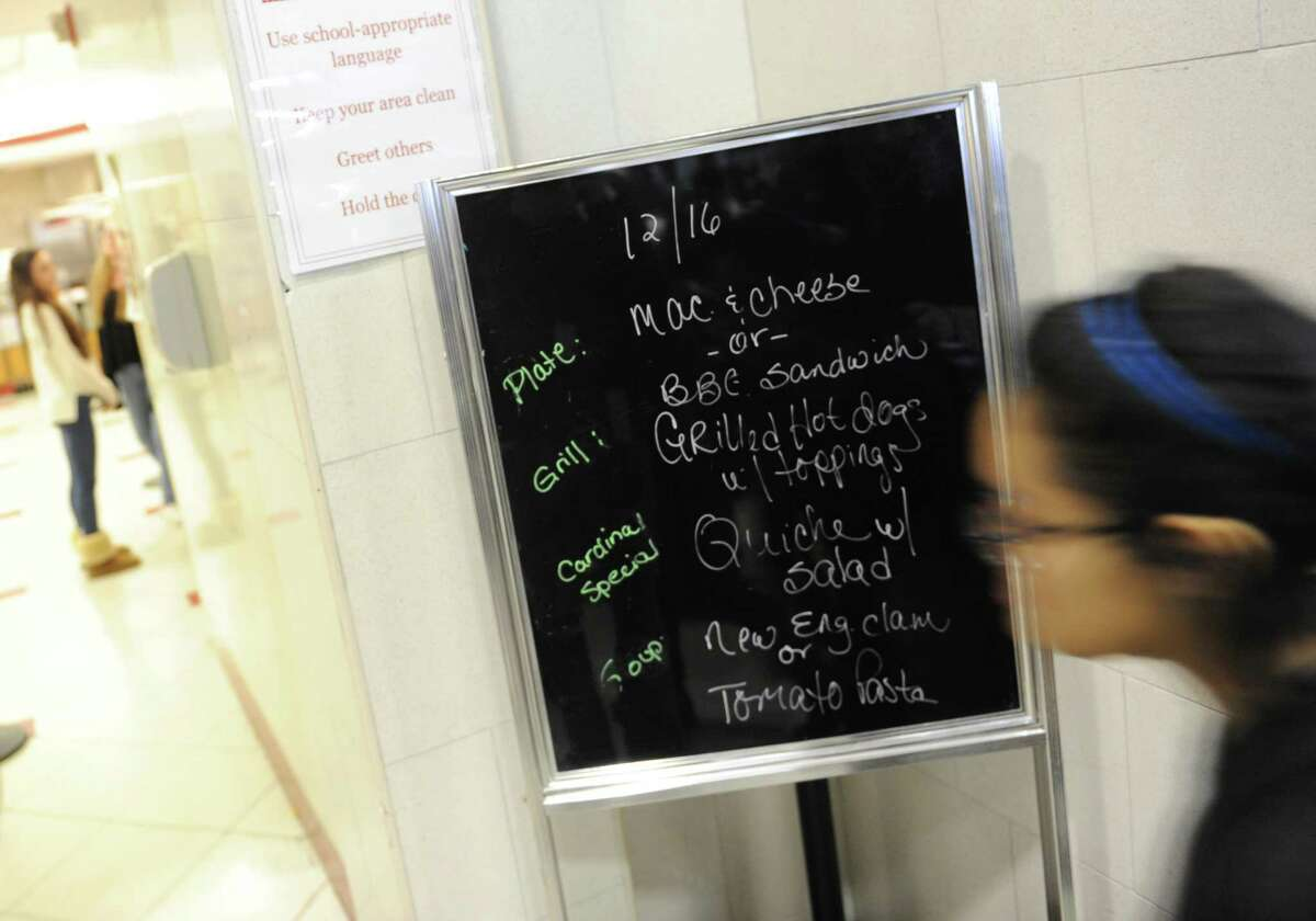 The cafeteria menu offers mac and cheese, barbecue sandwiches, hot dogs, quiche, clam chowder and tomato pasta at Greenwich High School in Greenwich, Conn. Tuesday, Dec. 16, 2014.| File Photo