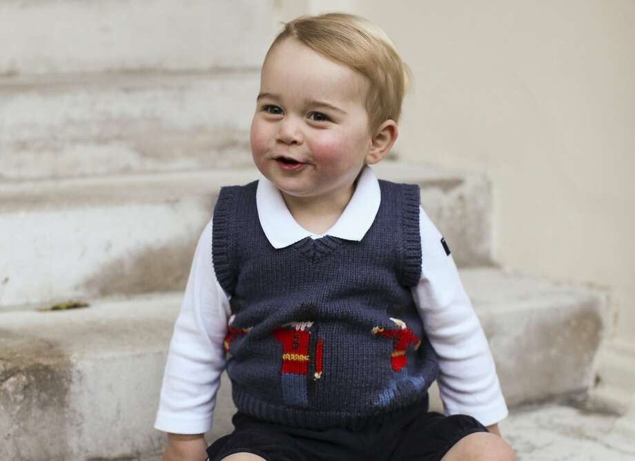HEY, THERE, GEORGY BOY: A photo of Prince George, taken last month, has been released by the Duke and   Duchess of Cambridge. The royal toddler's blue sweater is decorated with soldiers of a Guards   regiment outfitted in bearskin hats and red tunics. Photo: TRH The Duke And Duchess Of Camb, Associated Press