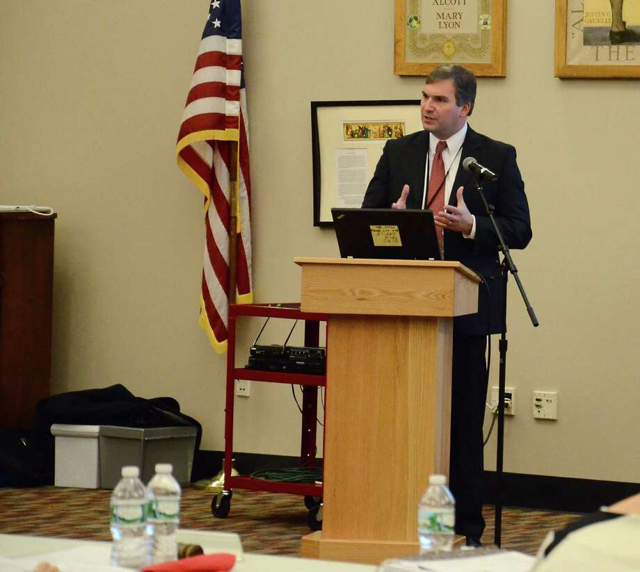 Superintendent of Schools Bryan Luizzi addresses the Board of Education and a number of top-level school administrators during the district's annual budget workshop Monday night, Dec. 15, 2014, at New Canaan High School, New Canaan, Conn. Photo: Nelson Oliveira / New Canaan News