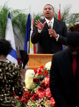 Mark Jackson delivers a sermon at the True Love Worship Center in Reseda in 2011. When coaching the Warriors, Jackson kept a residence in Southern California to be near his church.