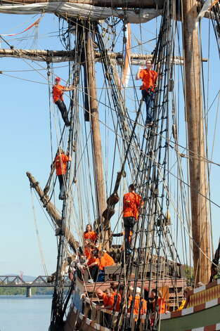 Local middle school children return from their student voyage of discovery aboard the replica ship the Half Moon on Friday Sept. 19, 2014 in Albany, N.Y. (Michael P. Farrell/Times Union)