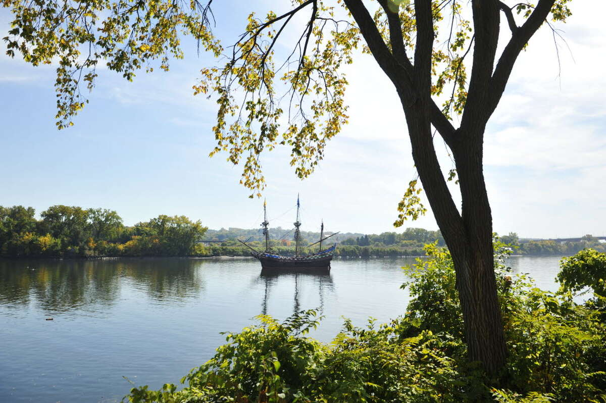 The Half Moon replica ship, with no home port locally, will be moved to a Dutch city in 2015.The ship the Half Moon is seen in the Hudson River at the Corning Preserve during the Early Albany: A Hudson River Festival event on Sunday, Sept. 28, 2014, in Albany, N.Y. The ship is a full-scale, operating replica of the Dutch ship of exploration that Henry Hudson sailed up the Hudson River in 1609. A historical encampment was created on the banks of the Hudson River where visitors could see demonstrations on how Dutch settlers and the Native Americans in the area lived and worked during the early 1600's. This year was also the 15th annual Fall of Voyage of Discovery, a trip where local school children and Dutch school children sailed the ship up the river, conducting science experiments along the way. (Paul Buckowski / Times Union)