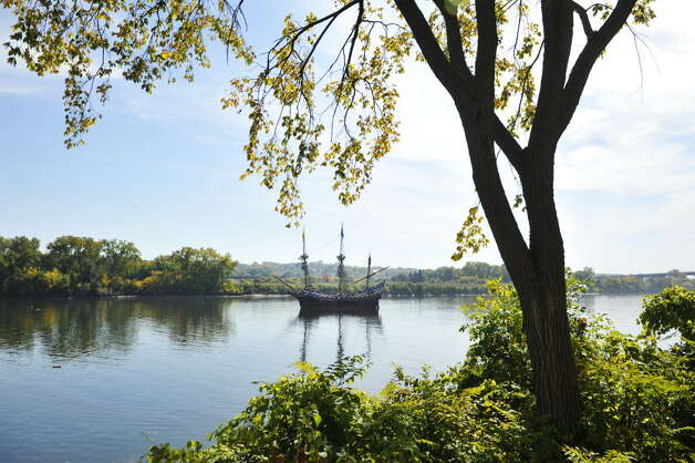 The ship the Half Moon is seen in the Hudson River at the Corning Preserve during the Early Albany: A Hudson River Festival event on Sunday, Sept. 28, 2014, in Albany, N.Y. The ship is a full-scale, operating replica of the Dutch ship of exploration that Henry Hudson sailed up the Hudson River in 1609. A historical encampment was created on the banks of the Hudson River where visitors could see demonstrations on how Dutch settlers and the Native Americans in the area lived and worked during the early 1600's. This year was also the 15th annual Fall of Voyage of Discovery, a trip where local school children and Dutch school children sailed the ship up the river, conducting science experiments along the way. (Paul Buckowski / Times Union)