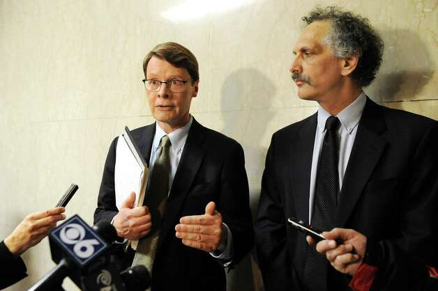 Blair Horner, left, and Russ Haven of NYPIRG release a report that examines 59 local governments decisions to support hydraulic fracturing on Tuesday Dec. 16, 2014, at the Capitol in Albany, N.Y. (Cindy Schultz / Times Union) Photo: Cindy Schultz / 00029874A