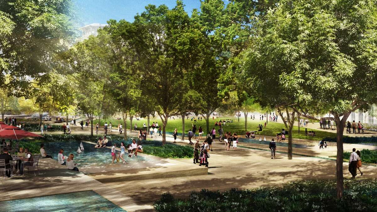 This rendering shows concepts for the civic park at HemisFair Park.