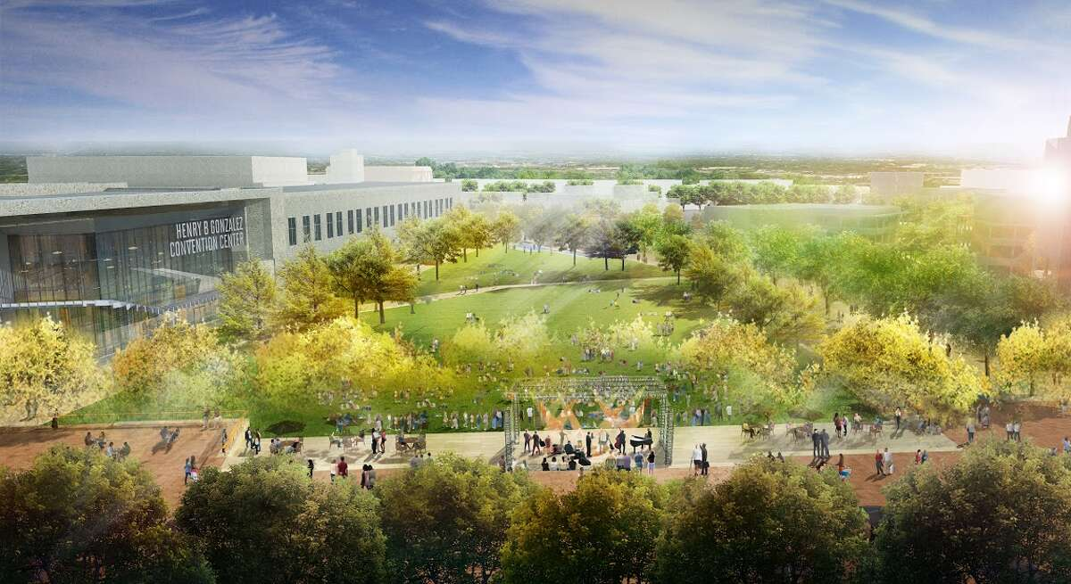 This rendering shows concepts for the civic park at HemisFair Park, the largest segment of the overall redesign. Spanning 15 acres, the civic park faces South Alamo and Market streets.