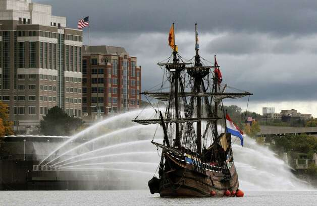 The Half Moon, a full scale replica of the original Dutch ship sailed by Henry Hudson, leaves Albany en route to Athens N.Y., Friday at noon Oct. 14, 2011. This weekend student sailors will undergo sail training at Peckham Materials in Athens, N.Y. Before the ship ends its season with some scheduled maintenance. (Will Waldron / Times Union) Photo: Will Waldron