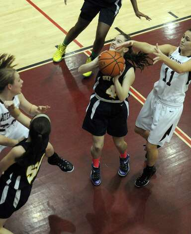 Holy Names Julia Smith drives to the hoop during their high school girl's basketball game against Watervliet on Tuesday Dec. 16, 2014 in Watervliet ,N.Y. (Michael P. Farrell/Times Union) Photo: Michael P. Farrell / 00029858A