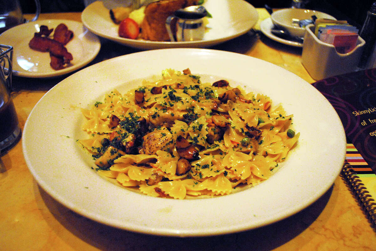 The Cheesecake Factory's Farfalle with Chicken and Roasted Garlic Calories: 2,410 Saturated fat: 63 grams Sodium: 1,370 mg